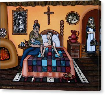 La Partera Or The Midwife Canvas Print by Victoria De Almeida