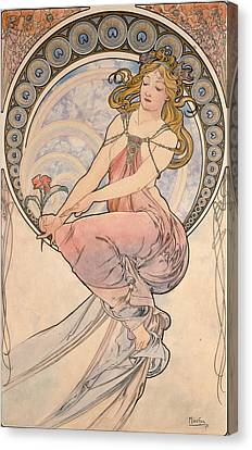 La Peinture, 1898 Watercolour On Card Canvas Print by Alphonse Marie Mucha