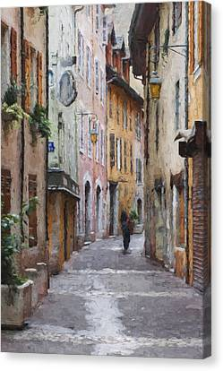 La Pietonne A Annecy - France Canvas Print by Jean-Pierre Ducondi
