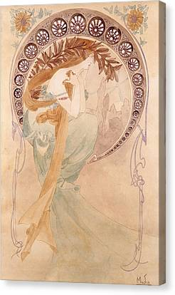 La Poesie,  Watercolour On Paper Canvas Print by Alphonse Marie Mucha