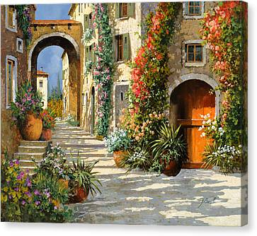 Light Canvas Print - La Porta Rossa Sulla Salita by Guido Borelli