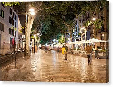 La Rambla At Night  In Barcelona Canvas Print