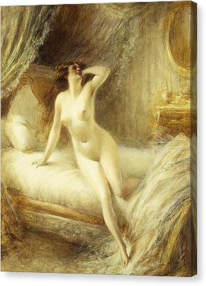 Boudoir Canvas Print - La Reveille by Albert Guillaume