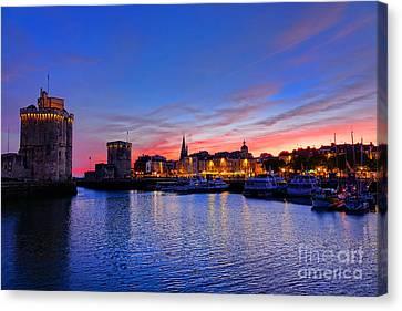 La Rochelle Port At Dusk In France  Canvas Print