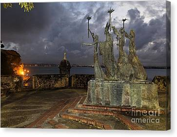 Puerto Rico Canvas Print - La Rogativa Plaza At Night by George Oze