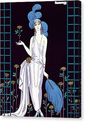 Ostrich Fan Canvas Print - 'la Roseraie' Fashion Design For An Evening Dress By The House Of Worth by Georges Barbier