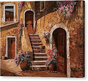 La Scalinata In Cortile Canvas Print by Guido Borelli