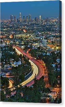 La Skyline Night Magic Hour Dusk Streaking Tail Lights Freeway Canvas Print by David Zanzinger