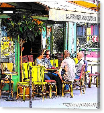 La Station Rambuteau Wine Drinkers Canvas Print