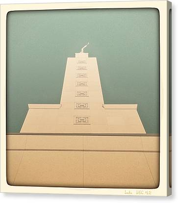 Canvas Print featuring the photograph L.a. Temple Green by Kevin Bergen