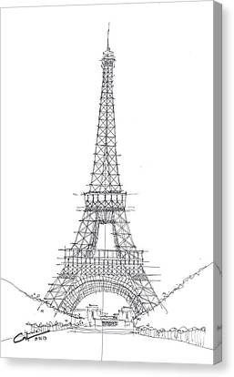 Canvas Print featuring the drawing La Tour Eiffel Sketch by Calvin Durham