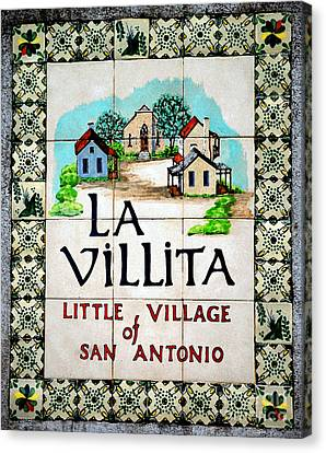 La Villita Tile Sign On The Riverwalk San Antonio Texas Watercolor Digital Art Canvas Print by Shawn O'Brien