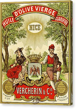 Label For Vercherin Extra Virgin Olive Oil Canvas Print by French School