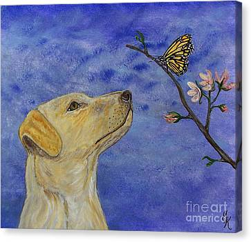 Canvas Print featuring the painting Labrador Enchanted by Ella Kaye Dickey