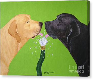 Labs Like To Share 2 Canvas Print by Amy Reges