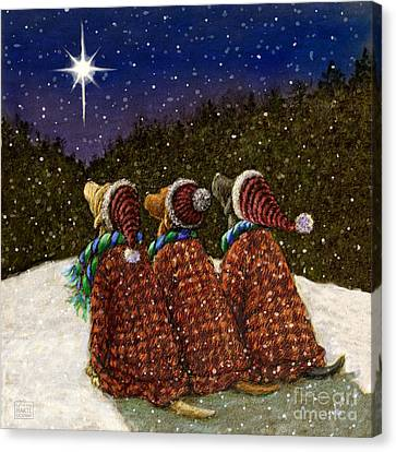 Labs Under The Christmas Star Canvas Print by Kathleen Harte Gilsenan