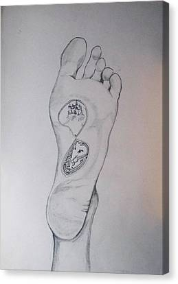 Canvas Print featuring the drawing Labyrinth Foot Pie Laberinto by Lazaro Hurtado