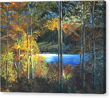 Canvas Print featuring the painting Lac Fortune Gatineau Park Quebec by LaVonne Hand