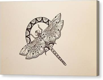 Lace Dragonfly Canvas Print by Jodi Harvey-Brown
