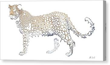 Canvas Print featuring the digital art Lace Leopard by Stephanie Grant