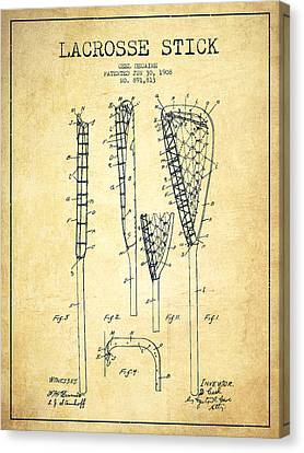 Lacrosse Stick Patent From 1908 - Vintage Canvas Print by Aged Pixel