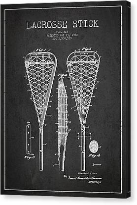 Goalie Canvas Print - Lacrosse Stick Patent From 1950- Dark by Aged Pixel