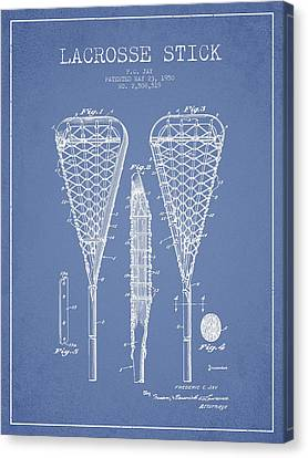 Lacrosse Stick Patent From 1950- Light Blue Canvas Print by Aged Pixel