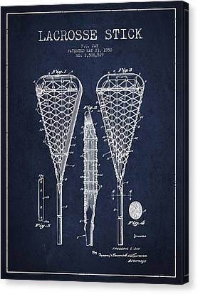 Lacrosse Stick Patent From 1950- Navy Blue Canvas Print by Aged Pixel