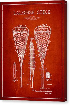 Goalie Canvas Print - Lacrosse Stick Patent From 1950- Red by Aged Pixel