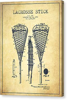 Lacrosse Stick Patent From 1950- Vintage Canvas Print by Aged Pixel