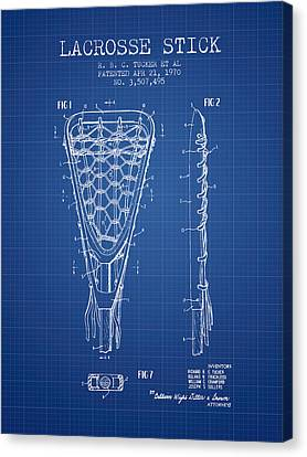 Lacrosse Stick Patent From 1970 -  Blueprint Canvas Print by Aged Pixel
