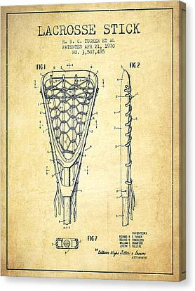 Lacrosse Stick Patent From 1970 -  Vintage Canvas Print by Aged Pixel