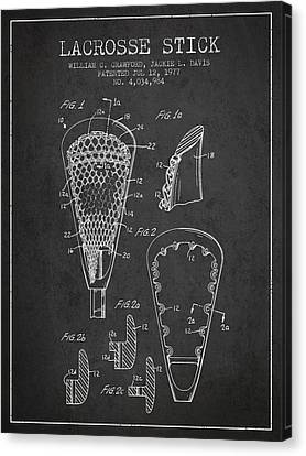 Lacrosse Stick Patent From 1977 -  Charcoal Canvas Print by Aged Pixel