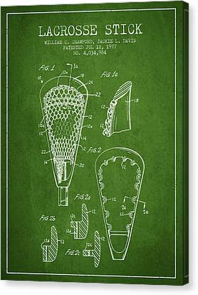 Lacrosse Stick Patent From 1977 -  Green Canvas Print by Aged Pixel