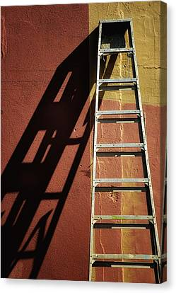 Ladder And Shadow On The Wall Canvas Print by Gary Slawsky
