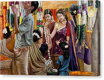 Ladies At The Flower Market In India Canvas Print by Dominique Amendola