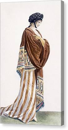 Ladies Dress With Velvet Shawl Canvas Print by Pierre de La Mesangere
