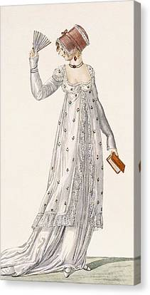 Ladies Evening Dress, Fashion Plate Canvas Print by English School
