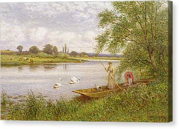Ladies In A Punt Canvas Print by Arthur Augustus II Glendening