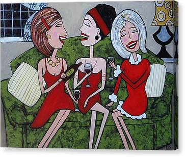 Ladies In Red On The Lounge Canvas Print