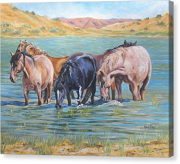 Ladies In Wading Canvas Print by Melody Perez
