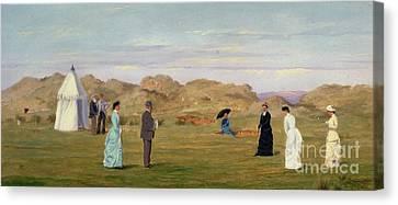 Ladies Match At Westward Ho Canvas Print by Francis Powell Hopkins