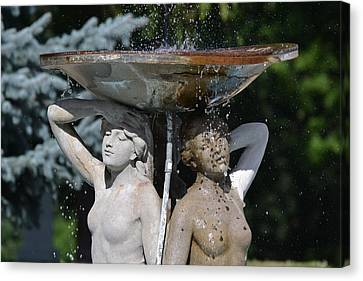 Ladies Of The Fountain Canvas Print by Bill Mock