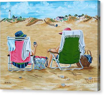 Canvas Print featuring the painting Ladies On The Beach by Val Miller