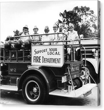 Beverly Hills Canvas Print - Ladies Supporting Fire Department by Retro Images Archive