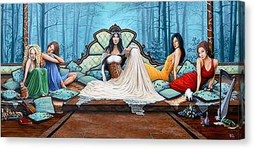 Red Cat Wine Canvas Print - Ladies Waiting by Molly Prince