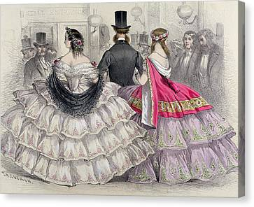 Ladies Wearing Crinolines At The Royal Italian Opera Canvas Print by TH Guerin