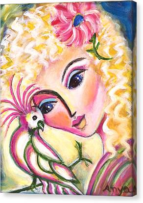 Canvas Print featuring the painting Lady And Cockatiel by Anya Heller
