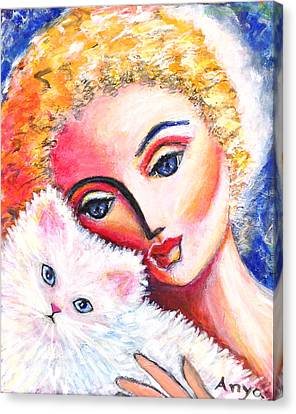 Canvas Print featuring the painting Lady And White Persian Cat by Anya Heller