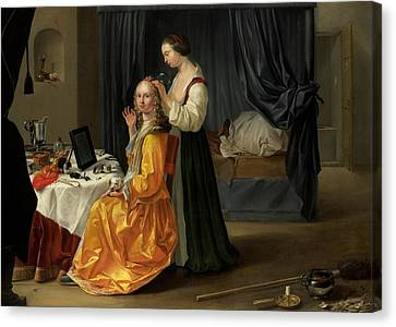 Lady At Her Toilet Canvas Print by Netherlandish School